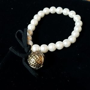 """White Beaded w Ball Charm & Leather Bow 7"""""""